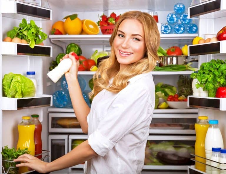 Woman at the fridge