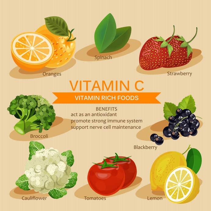 Vector de alimentos con vitamina C