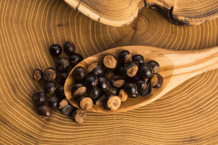 semillas de guarana sobre madera