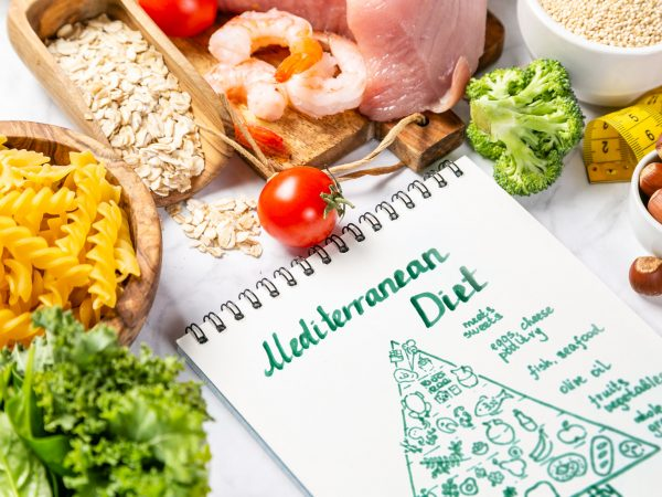 Mediterranean diet concept – meat, fish, fruits and vegetables on bright green background