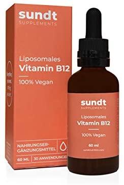 Vitamina B12 liposomal en gotas para el bienestar físico y mental - Frasco de 60 ml - 30 aplicaciones - vegano y sin OMG - Hecho en la UE - Sundt Nutrition® Suplemento alimenticio