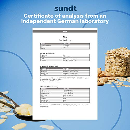 Zinc en cápsulas para un cuerpo sano - 60 cápsulas - 60 aplicaciones - Sin OGM - Hecho en la UE - Sundt Nutrition® Suplemento alimenticio