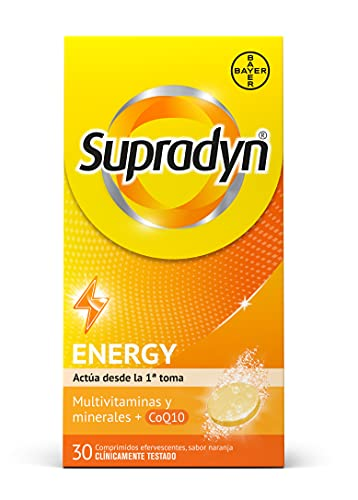 Supradyn Activo Multivitaminas para Todos con Vitaminas, Minerales y Coenzima Q10, Ayuda a Activar y Mantener tu Energía y Reducir el Cansancio, 30 Comprimidos Efervescentes