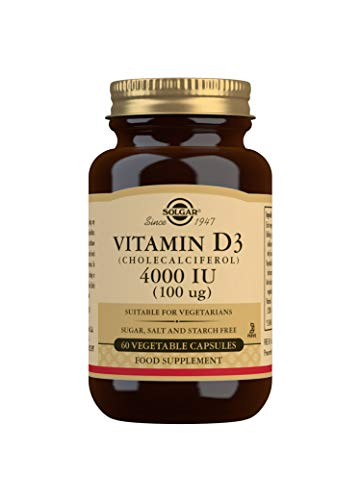 Solgar Vitamina D3 4000 UI (100 μg), Huesos y Sistema Inmune, 60 Cápsulas vegetales