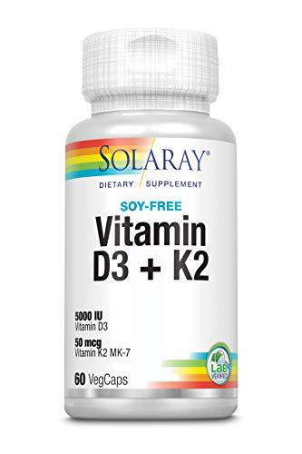 Solaray Vitamina D3 + K2   Favorece la absorción de calcio y apoya al sistema cardiovascular y arterial   Sin Soja, gluten   Apto para Vegetarianos   60 VegCap