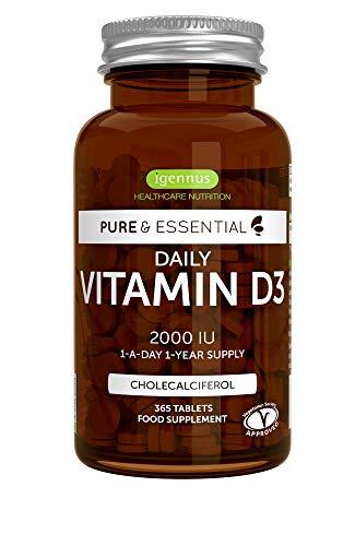 Pure & Essential Vitamina D3 Diaria, colecalciferol 2000 UI, suministro diario para un año, 365 comprimidos
