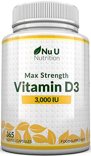 Vitamina D3 3000 UI   365 Cápsulas Blandas (Suministro Para Todo el Año)   Suplemento de Vitamina D3 Tres Veces Más Concentrado, Colecalciferol de Alta Absorción   Libre de Gluten Y Lácteos