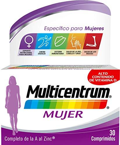Multicentrum Mujer Complemento Alimenticio Multivitaminas con 13 Vitaminas y 11 Minerales, Sin Gluten, 30 Comprimidos