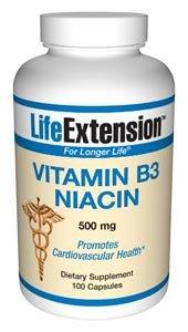 Life Extension 500mg Vitamina B3 Niacina 100 Cápsulas 200 g