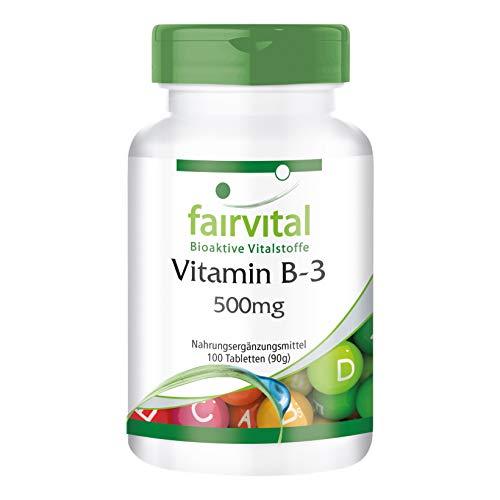 Vitamina B3 500mg - Niacina Flush Free - No ruborizante - Nicotinamida - VEGANA - Dosis elevada - 100 Comprimidos - Calidad Alemana