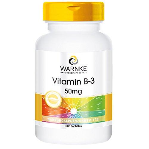 Vitamina B3 Niacina 50mg – 500 Comprimidos – Formato familiar