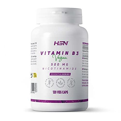 Vitamina B3 de HSN | 500 mg | Suministro 4 Meses | Fórmula de liberación inmediata de Nicotinamida | No produce Flush | No-GMO, Vegano, Sin Gluten, Sin Lactosa | 120 Cápsulas Vegetales